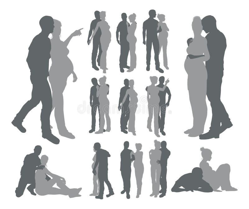 Le couple silhouette la femme enceinte illustration libre de droits