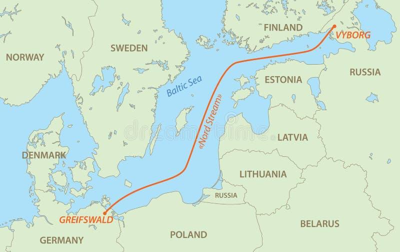 Le courant de Nord est gazoduc de Russie en Allemagne - dirigez la carte illustration libre de droits