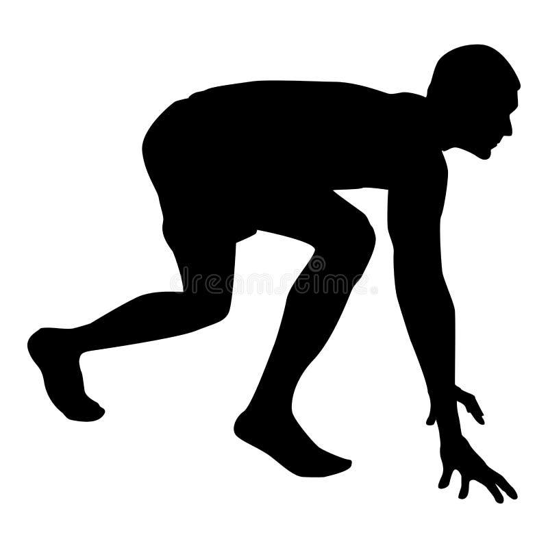 Le coureur disposant à mettre en marche le coureur fonctionnant de début de fonctionnement dans la posture prête à la silhouette  illustration libre de droits