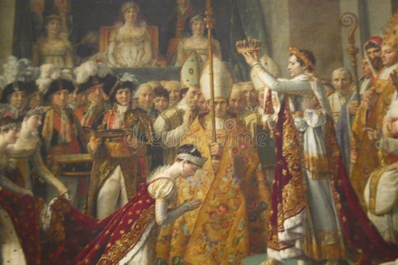 Le couronnement du napoléon par Jacques Louis David, 1808 au musée de Louvre, Paris, France, huile sur la toile photographie stock