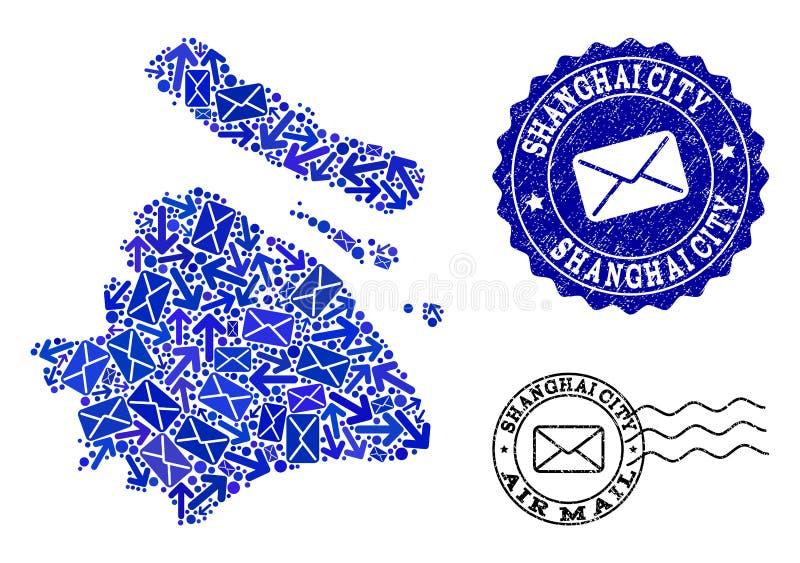 Le courrier conduit la composition de la carte de mosaïque des timbres de municipalité et de détresse de Changhaï illustration libre de droits
