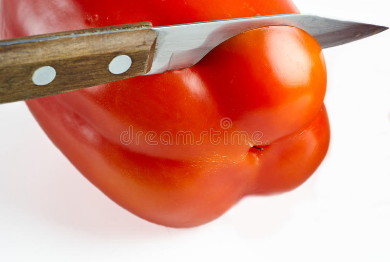 Download Le Couteau Coupe Le Fruit Du Paprika Photo stock - Image du paprika, peau: 87709456