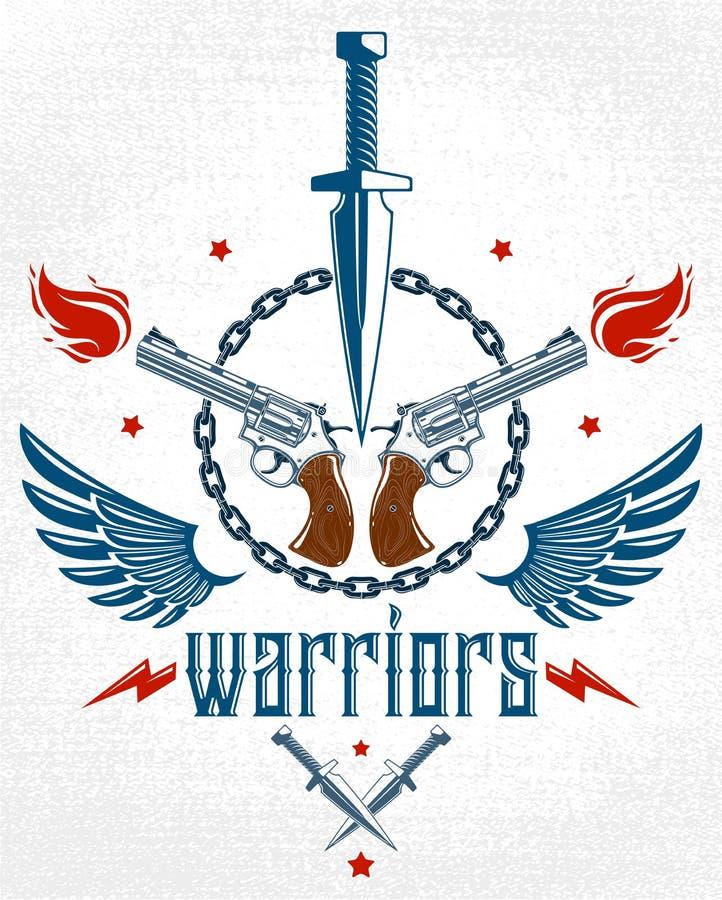 Le couteau de poignard et d'autres armes dirigent l'emblème de la révolution et de la guerre, le tatouage avec un bon nombre d'él illustration stock