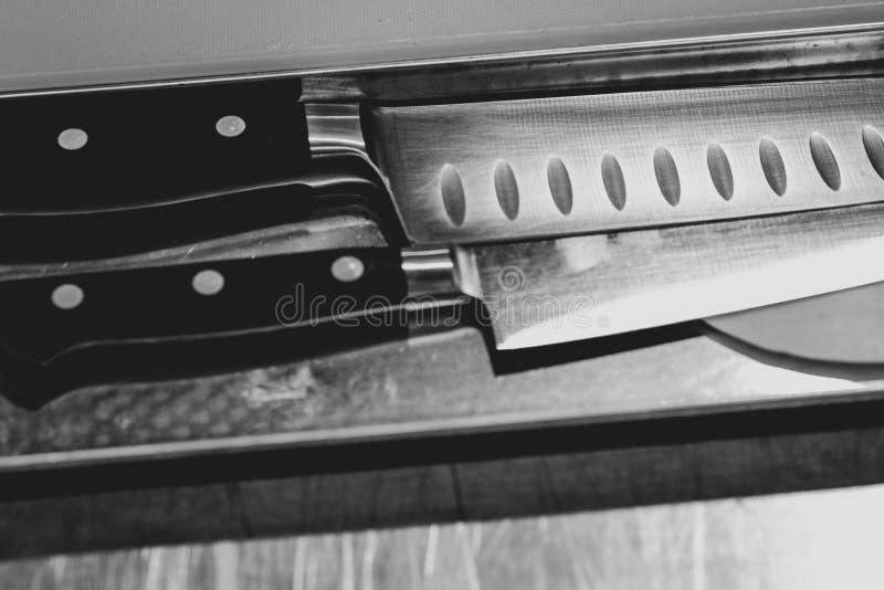 Le couteau du chef, le couteau du chef en acier de cuisine photographie stock