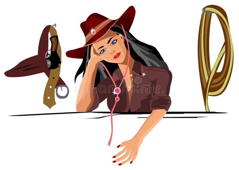 Le cowboy de fille se tient et le regard songeur de sembler sur le mur accroche une arme à feu et un lasso de corde illustration stock