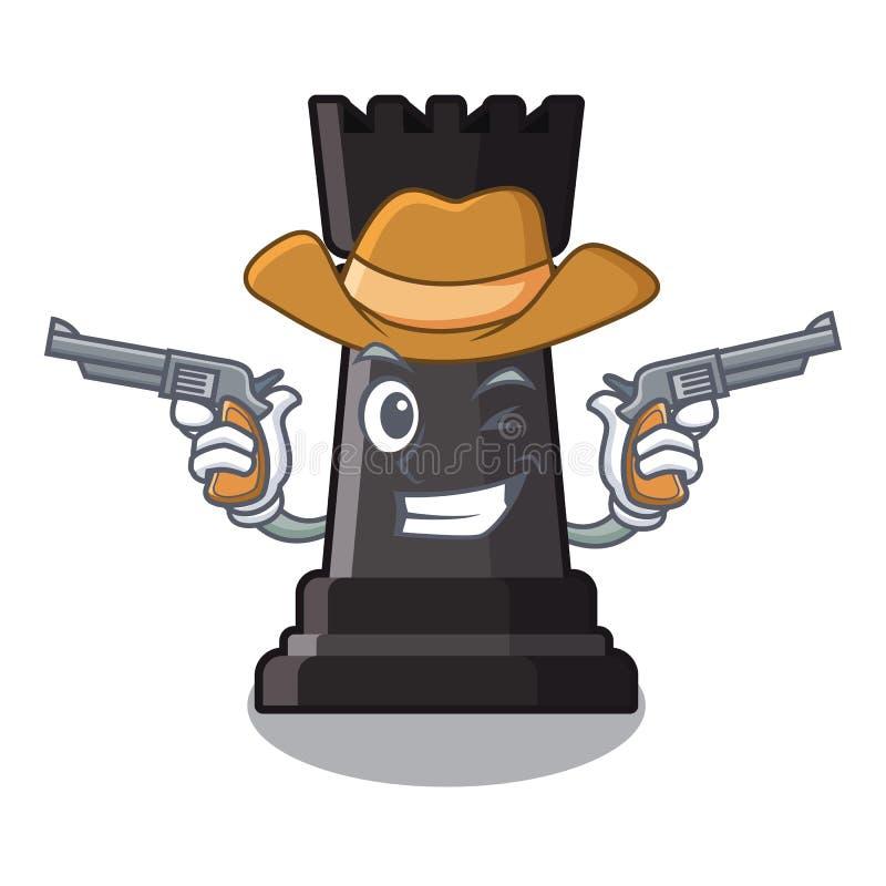Le cowboy escroquent des jouets d'échecs au-dessus de table de bande dessinée illustration de vecteur