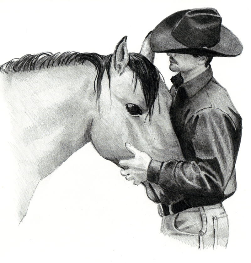 Le cowboy et son cheval illustration stock