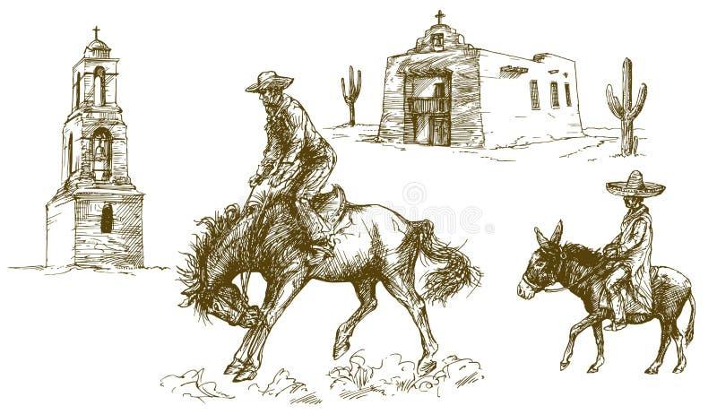 Le cowboy monte son cheval illustration stock