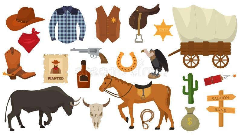 Le cowboy occidental ou le shérif de vecteur occidental sauvage signe le chapeau ou le fer à cheval dans le désert de faune avec  illustration libre de droits