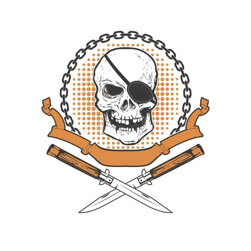 Le crâne avec deux a croisé des couteaux sur le fond grunge Conception Eleme illustration libre de droits