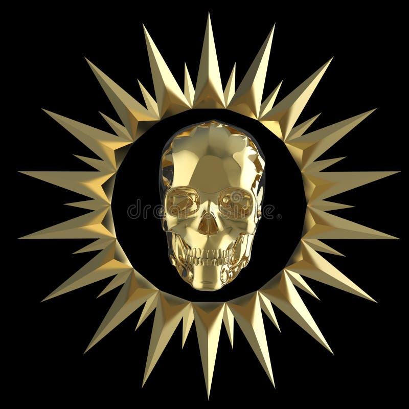 Le crâne brillant en métal d'or du plat d'or mat avec des transitoires autour, noir d'isolement, pirate la crête rendent photographie stock libre de droits