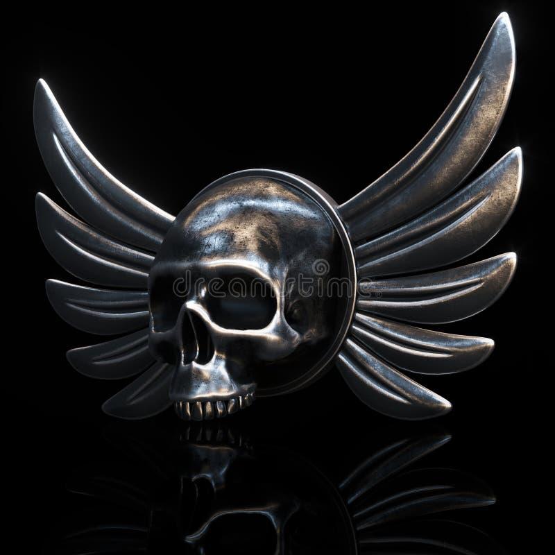 Le crâne de cycliste de vintage avec le métal s'envole sur le fond noir 3d ren illustration stock