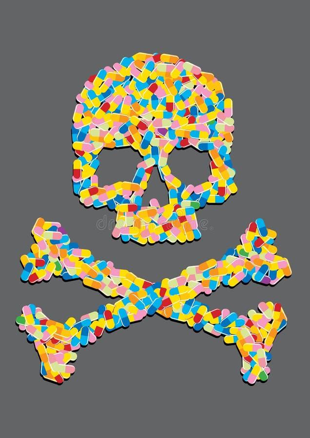 Le crâne a effectué à ââof une pillule de capsule illustration de vecteur