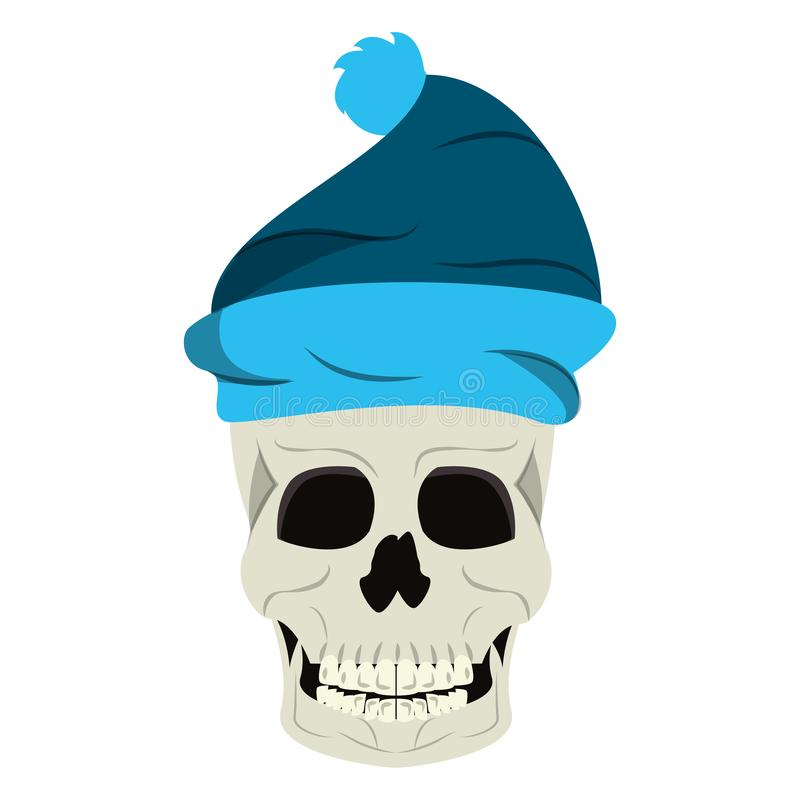 Le crâne frais avec la bande dessinée de chapeau d'hiver a isolé illustration libre de droits