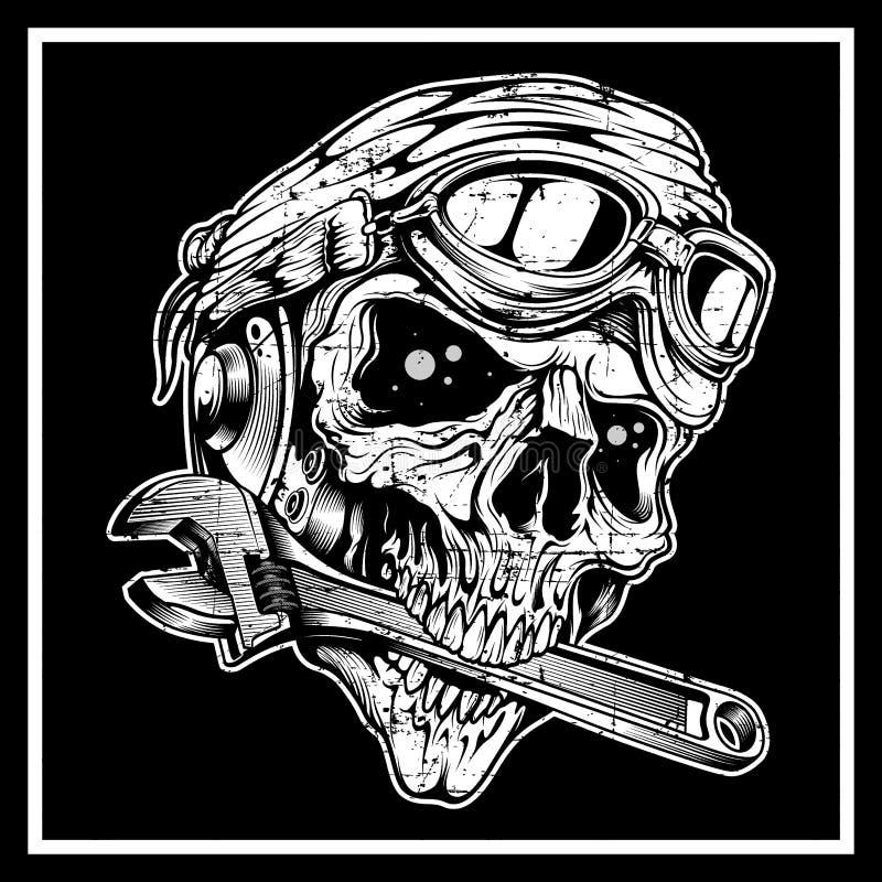 Le crâne grunge de style de cru le crâne mord la clé illustration de vecteur