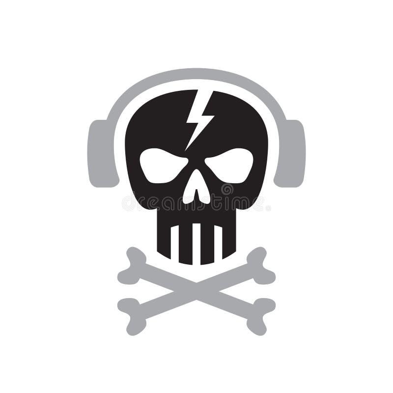 Le crâne humain avec des écouteurs signent - dirigez l'illustration de concept de calibre de logo Élément de conception illustration stock