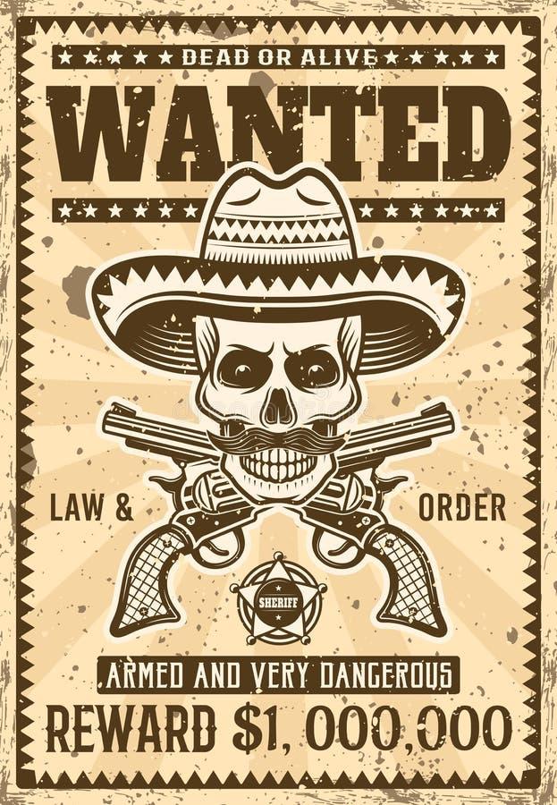 Le crâne mexicain de bandit dans le sombrero a voulu l'affiche illustration stock