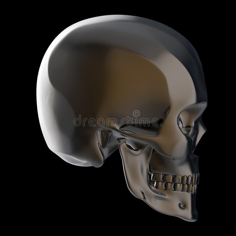 Le crâne poli brillant foncé en métal rendent d'isolement sur le fond noir s images stock