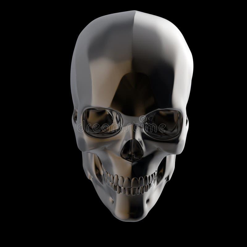 Le crâne poli brillant foncé en métal rendent d'isolement sur le fond noir s photographie stock libre de droits