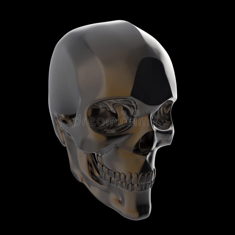 Le crâne poli brillant foncé en métal rendent d'isolement sur le fond noir s image stock