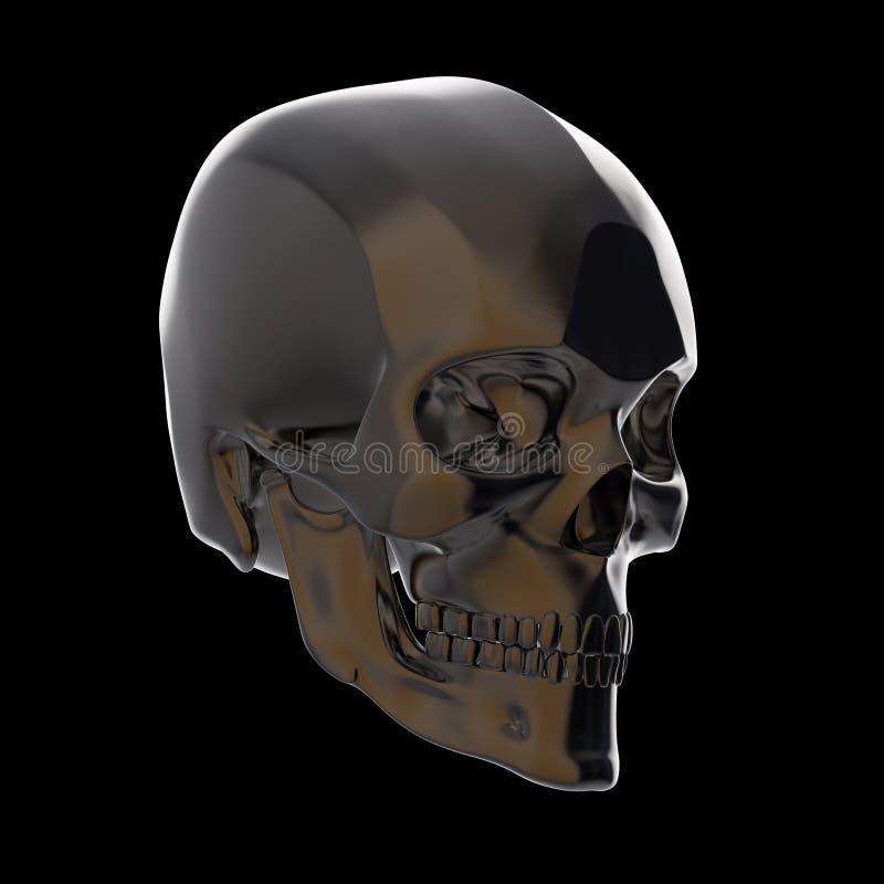 Le crâne poli brillant foncé en métal rendent d'isolement sur le fond noir s photos stock