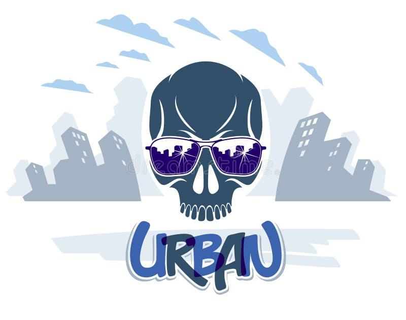 Le crâne urbain de style de culture dans des lunettes de soleil dirigent le logo ou l'emblème, voyou de chaos d'anarchie, thème d illustration libre de droits