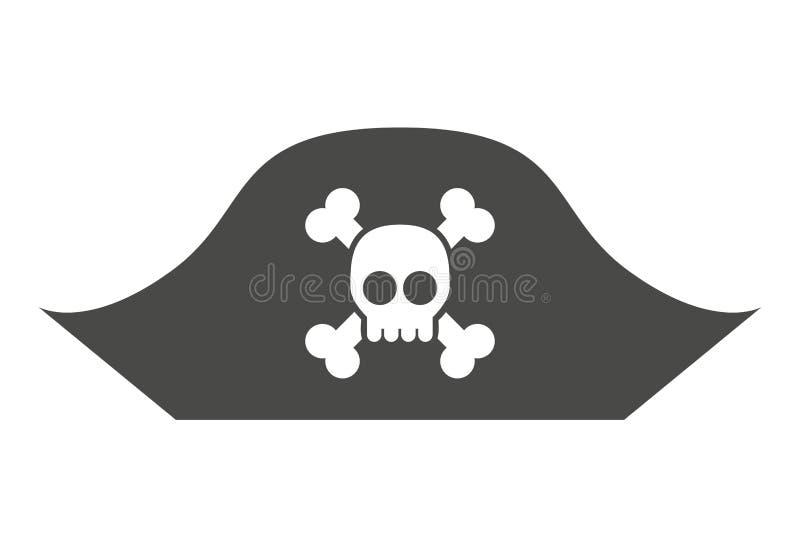 le crâne vigilant dans le pirate de chapeau a isolé la conception d'icône illustration stock