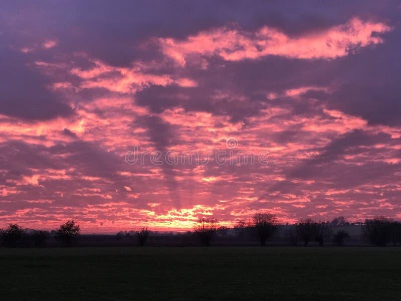 Le crépuscule rayonne le paysage orange pourpre rouge de nuages du feu de ciel photographie stock libre de droits