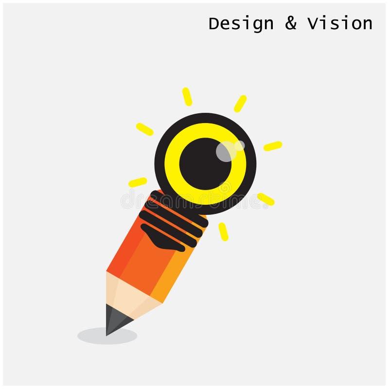 Le crayon créatif et l'ampoule conçoivent avec le concept de vision plat illustration de vecteur