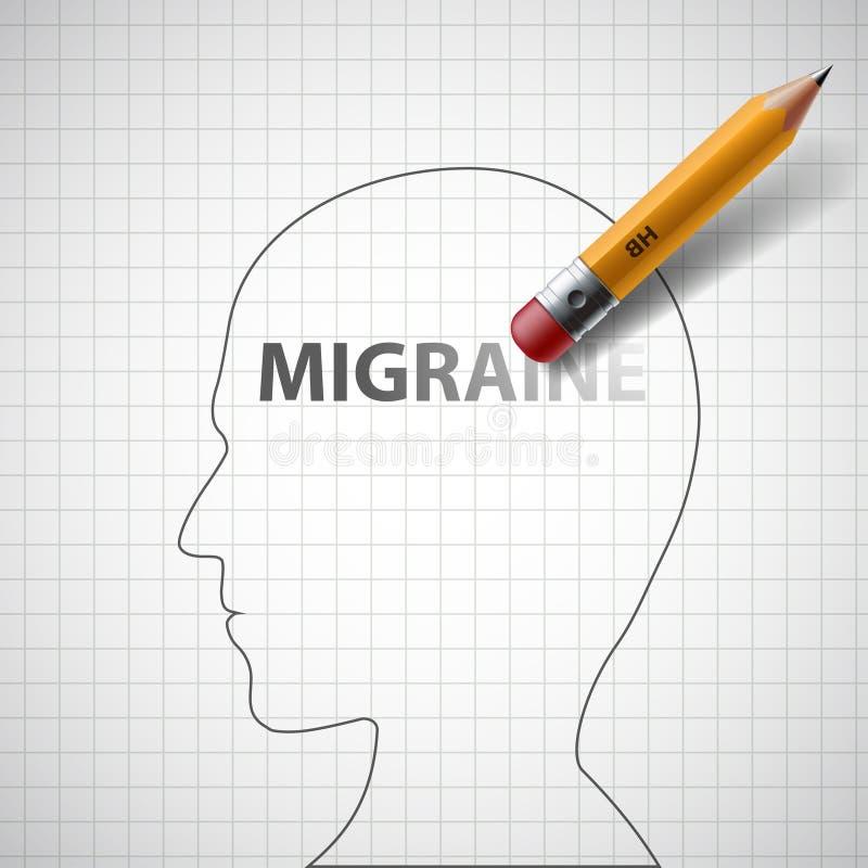 Le crayon efface la migraine de mot dans la tête humaine barre illustration libre de droits