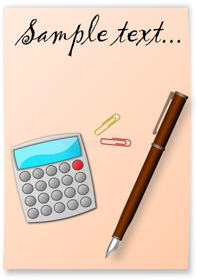 Le crayon lecteur, la calculatrice et la feuille photographie stock
