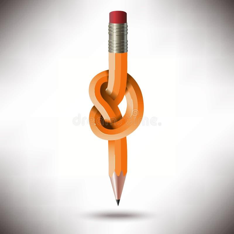 Le crayon noué a bloqué le concept illustration libre de droits