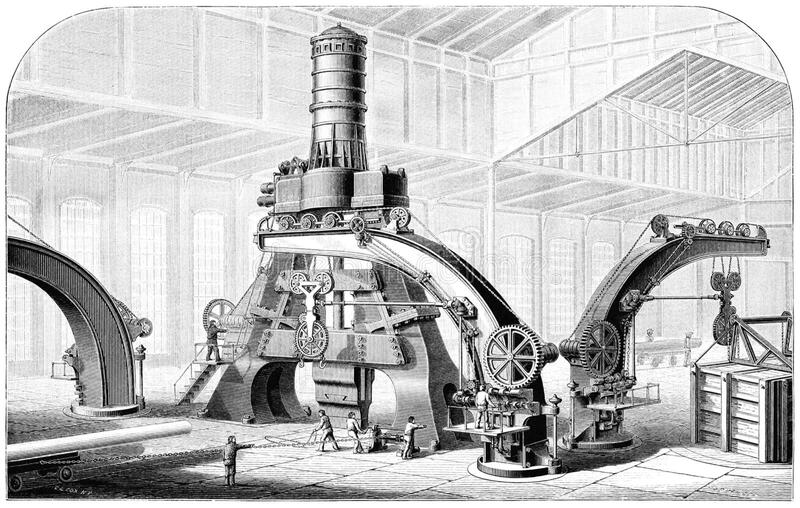 Le Creusot Eighty-Ton Steam-Hammer stock images