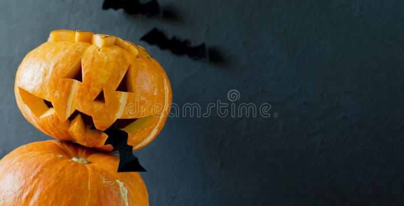 Le cric de lanterne de potiron de plan rapproché de Halloween dans sa bouche tient une batte Fond fonc? Deux potirons Trois batte images stock