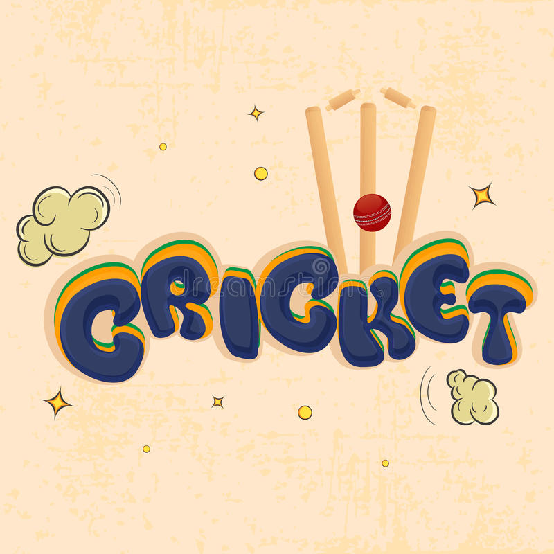Le cricket folâtre le concept avec la boule et le guichet rouges illustration stock