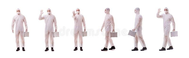 Le criminaliste dans la tenue de protection avec le cas en acier photos libres de droits