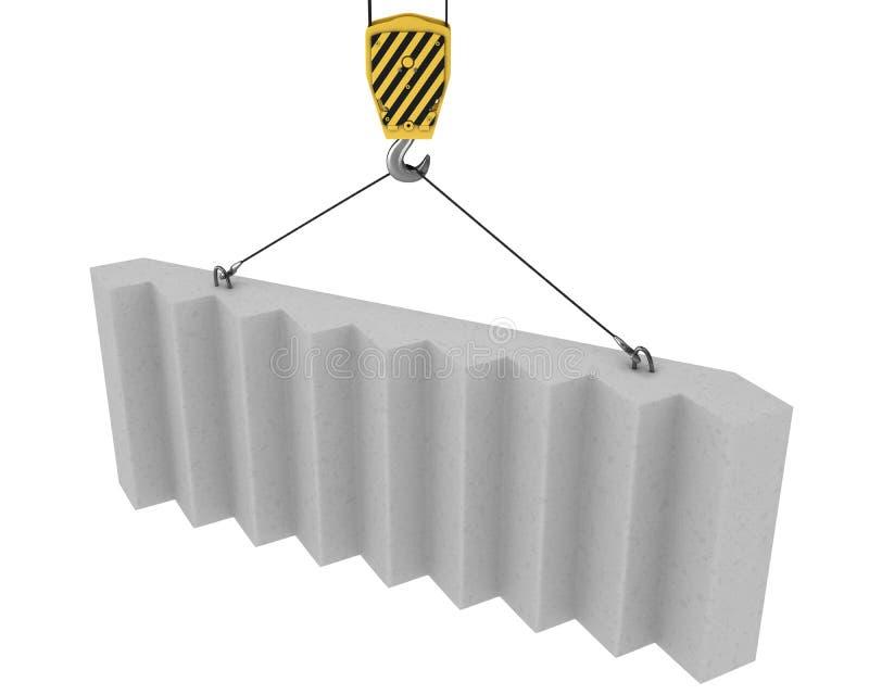Le crochet de grue soulève vers le haut les escaliers concrets illustration de vecteur