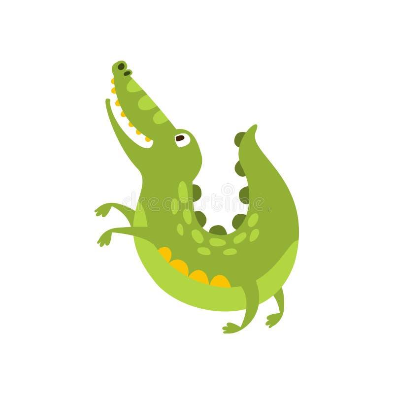 Le crocodile sautant comme le dessin de caractère animal de bande dessinée de chien de reptile amical plat de vert illustration de vecteur