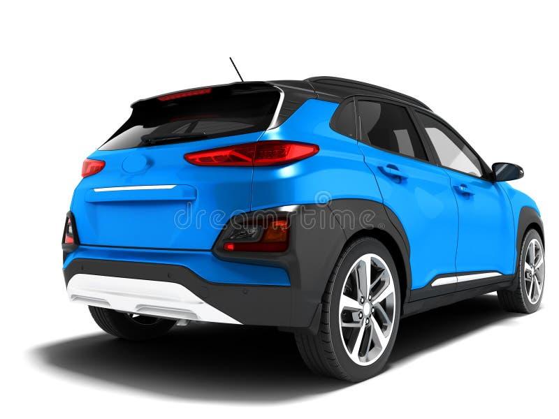 Le croisement bleu moderne de voiture pour de longs voyages de retour regardent 3d pour rendre sur le fond blanc avec l'ombre illustration libre de droits