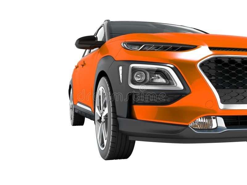 Le croisement orange moderne de voiture pour le voyage avec les encarts noirs dans 3d avant ne rendent sur le fond blanc aucune o illustration libre de droits