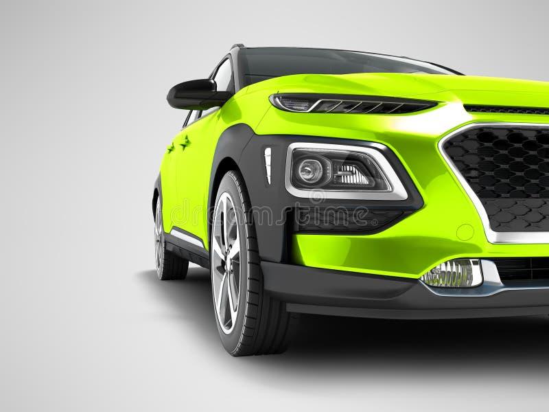 Le croisement vert clair moderne de voiture pour le voyage avec les encarts noirs dans 3d avant rendent sur le fond gris avec l'o illustration libre de droits