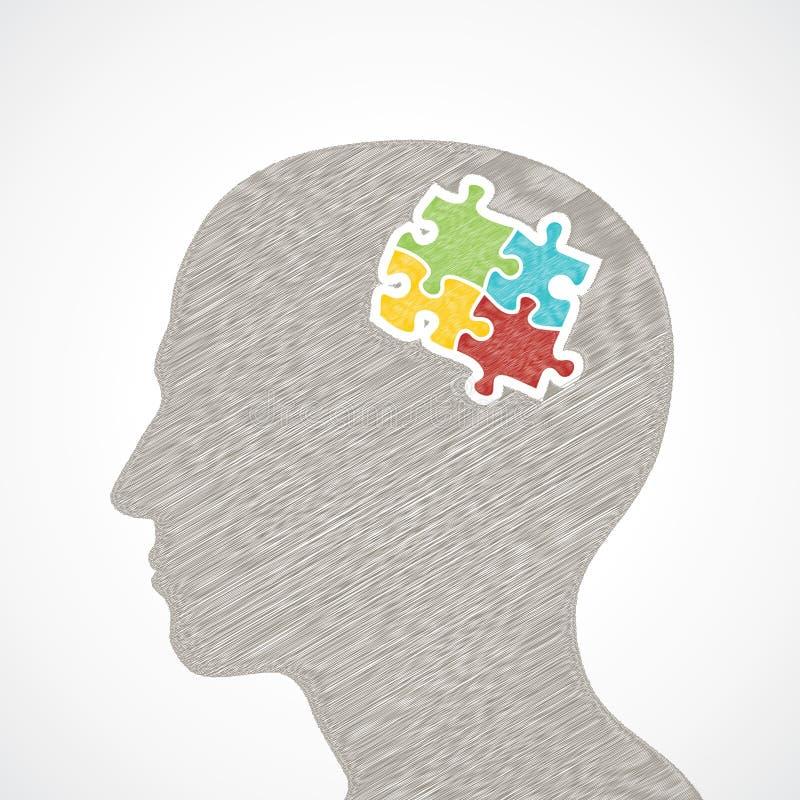 Le croquis équipe le visage avec des parties de puzzle dans sa tête De illustration libre de droits