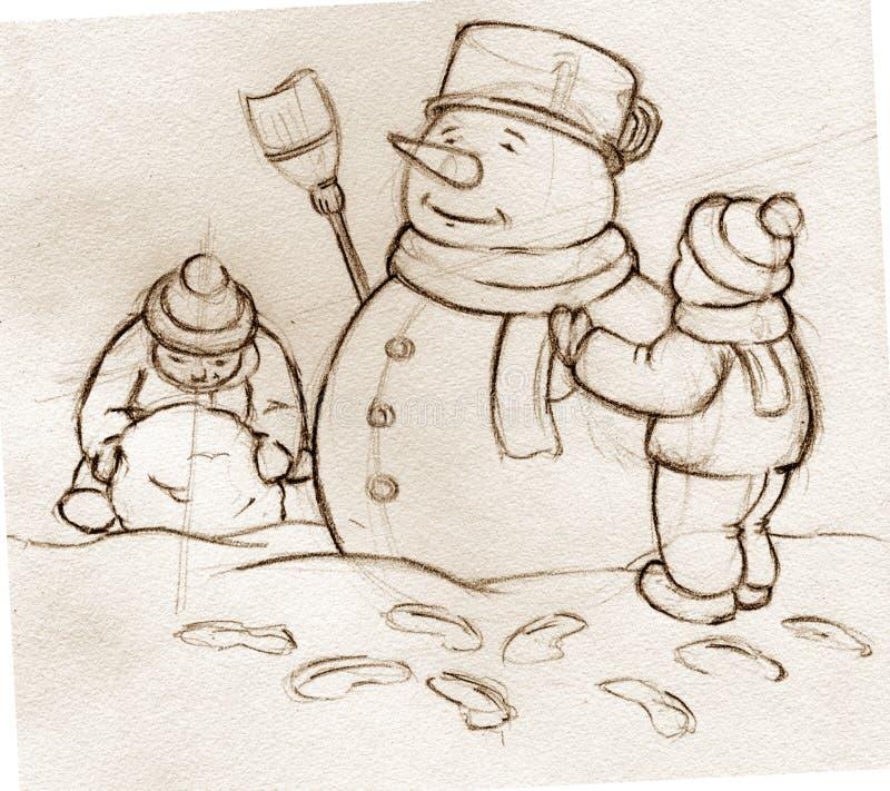 Le croquis badine le bonhomme de neige de construction illustration libre de droits