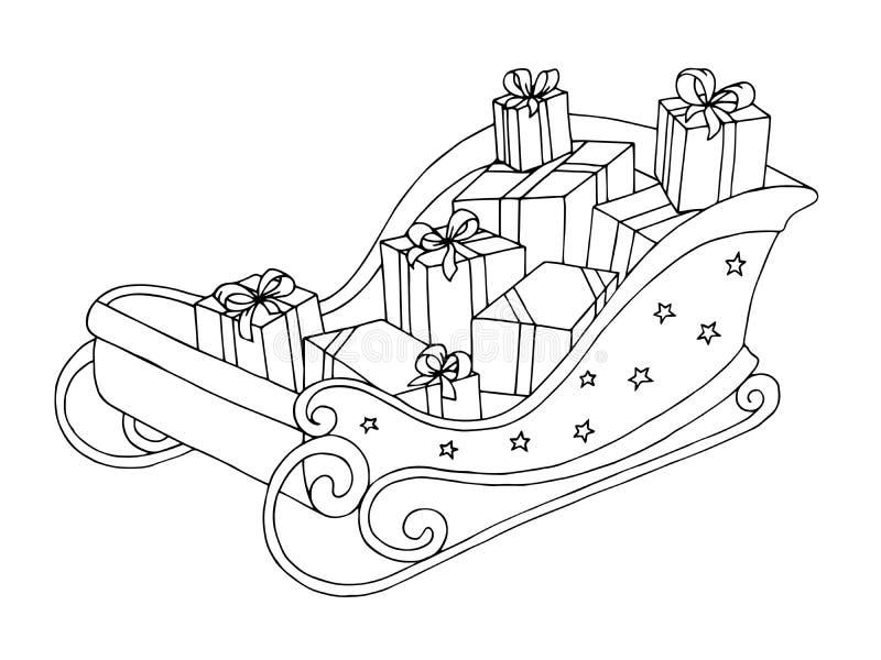 Le croquis blanc de noir de l'industrie graphique de Sleigh a isolé l'illustration illustration libre de droits