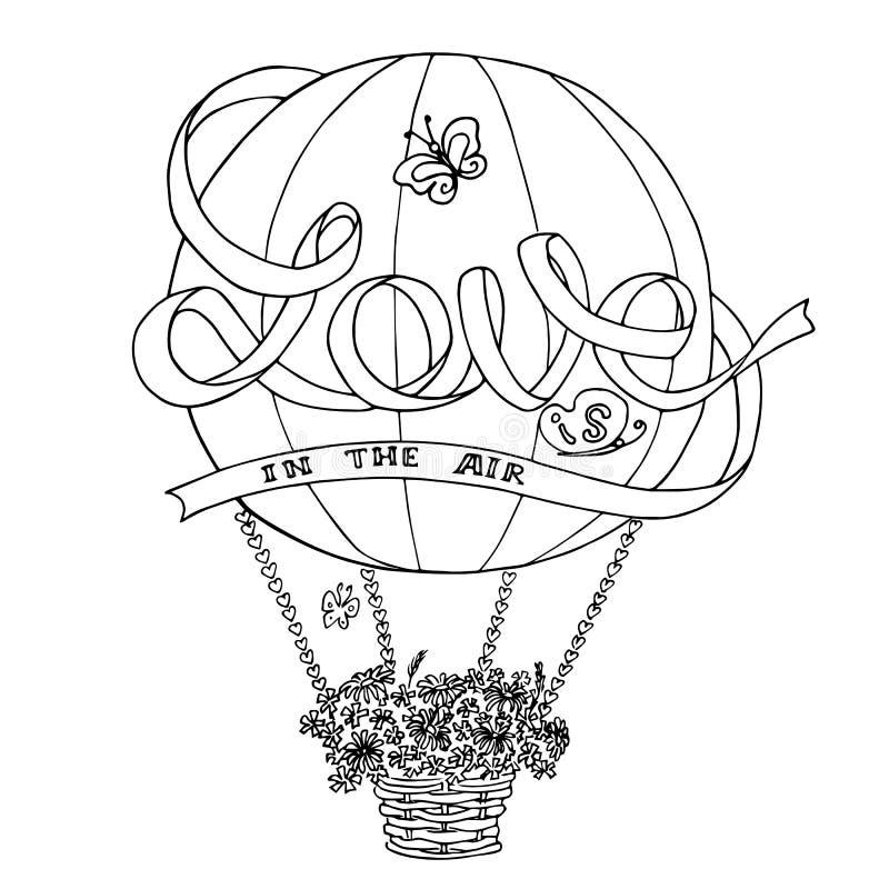 Le croquis chaud de ballon à air avec amour de ruban est dans le ciel illustration libre de droits