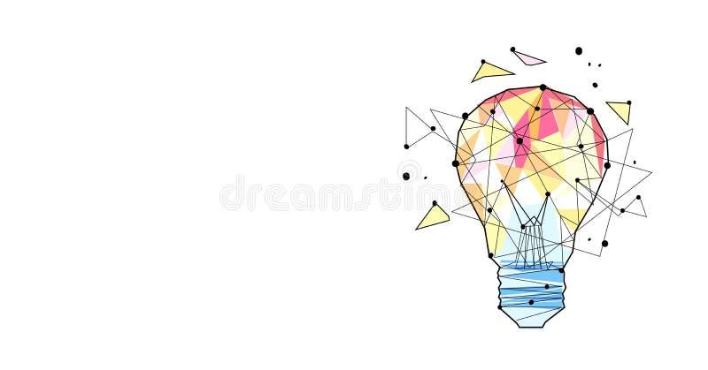 Le croquis créatif de concept d'idée de lampe légère d'inspiration gribouillent l'appartement d'isolement horizontal illustration de vecteur
