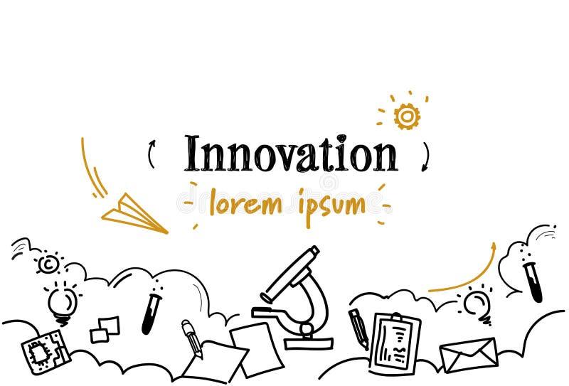 Le croquis créatif de concept d'innovation d'idée de nouvelles recherches de laboratoire gribouillent l'espace d'isolement horizo illustration libre de droits