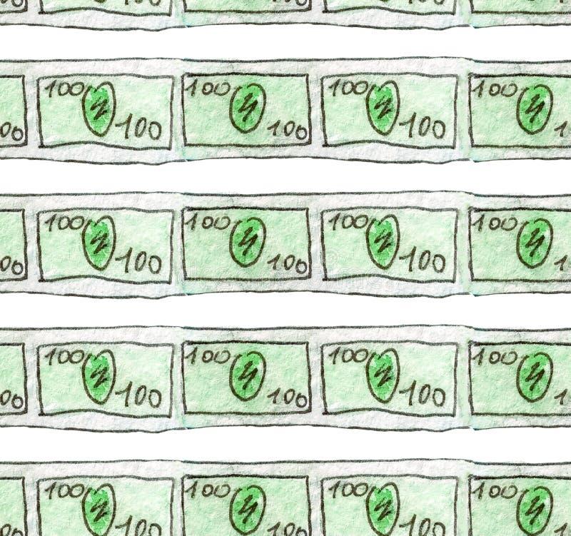 Le croquis d'aquarelle d'un billet de banque de 100 dollars sont les lignes minces Modèle sans couture pour illustrer des finance illustration de vecteur
