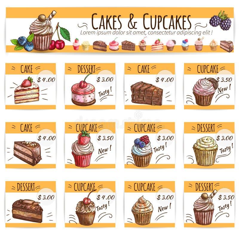Le croquis de bannière de dessert durcit, des cartes des prix de petits gâteaux illustration libre de droits
