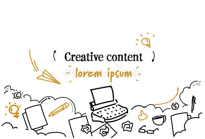 Le croquis de commercialisation satisfait créatif de concept gribouillent l'espace d'isolement horizontal de copie illustration de vecteur